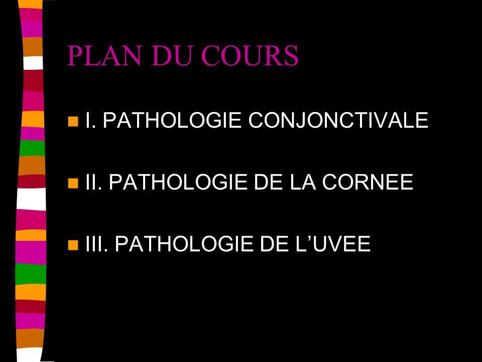 PLAN DU COURS I. PATHOLOGIE CONJONCTIVALE II. PATHOLOGIE DE LA CORNEE