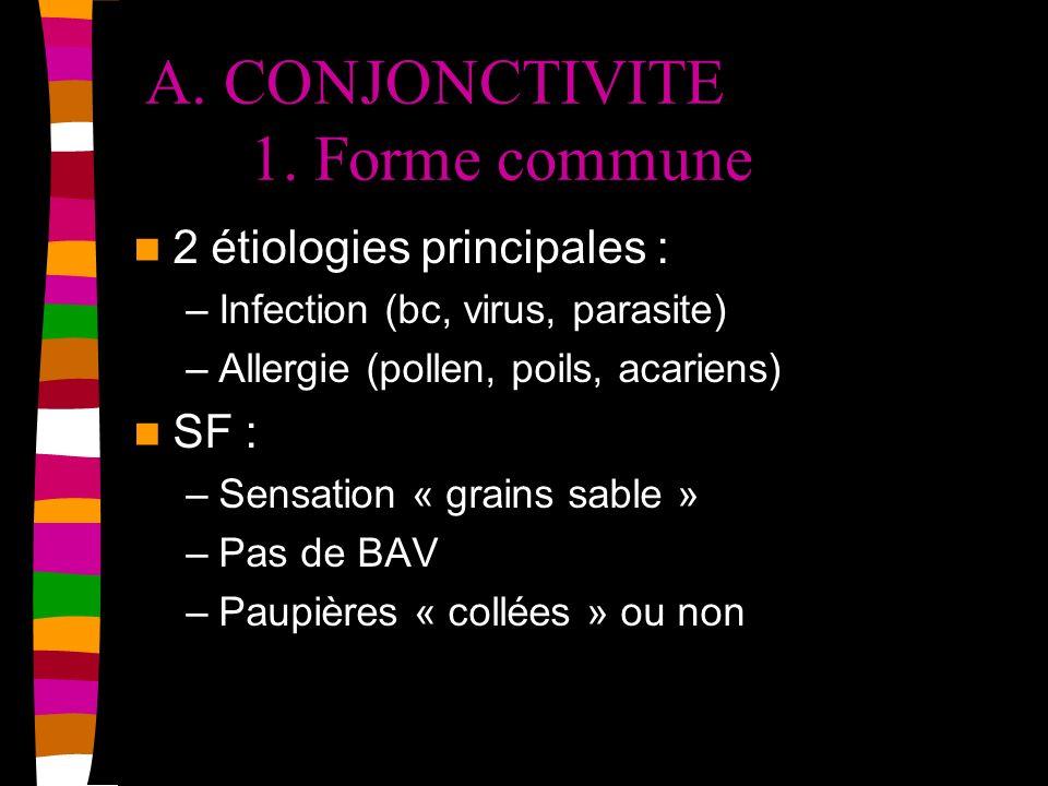 A. CONJONCTIVITE 1. Forme commune