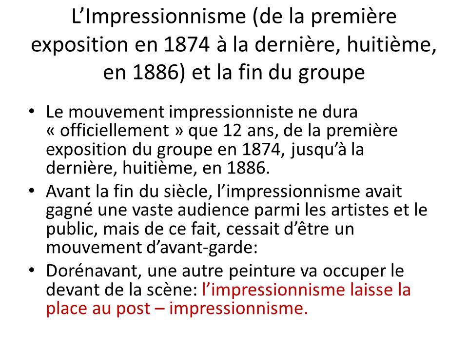 L'Impressionnisme (de la première exposition en 1874 à la dernière, huitième, en 1886) et la fin du groupe