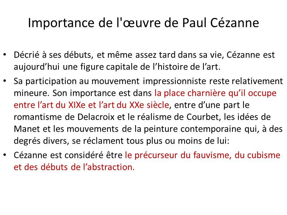 Importance de l œuvre de Paul Cézanne