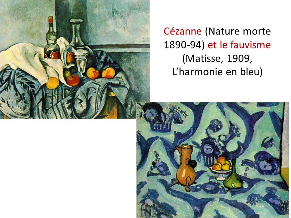Cézanne (Nature morte 1890-94) et le fauvisme (Matisse, 1909, L'harmonie en bleu)