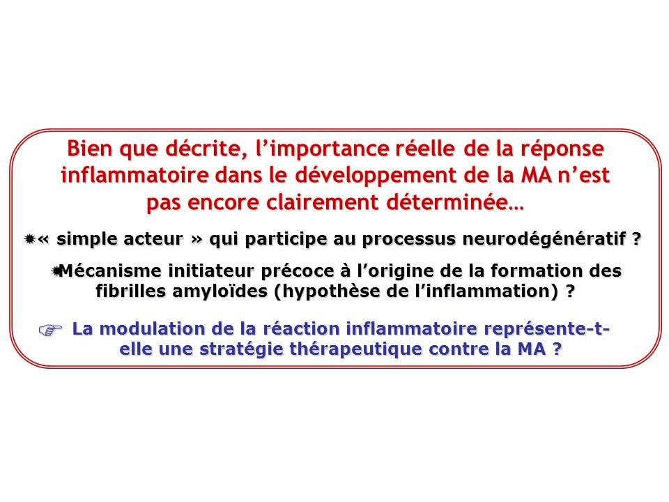 Bien que décrite, l'importance réelle de la réponse inflammatoire dans le développement de la MA n'est pas encore clairement déterminée…