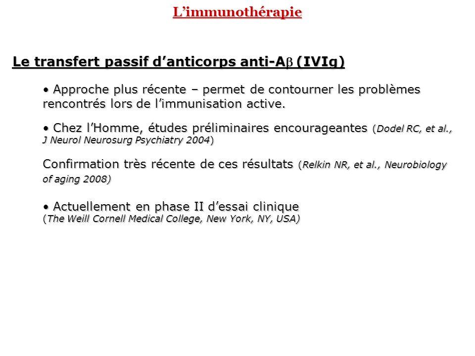 Le transfert passif d'anticorps anti-Ab (IVIg)