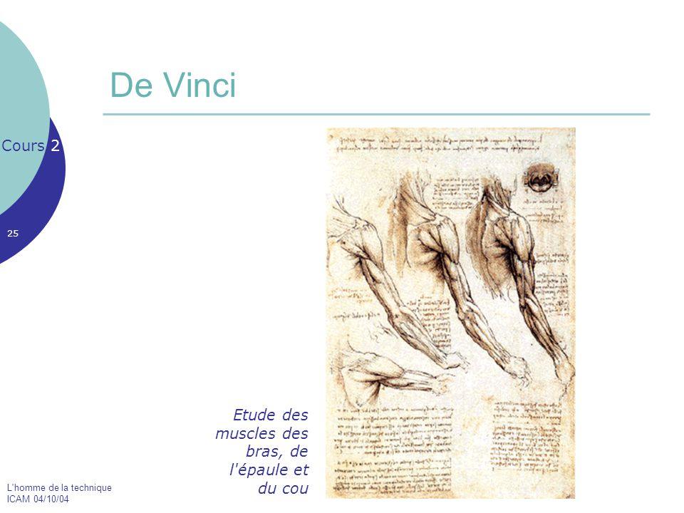 De Vinci Cours 2 Etude des muscles des bras, de l épaule et du cou