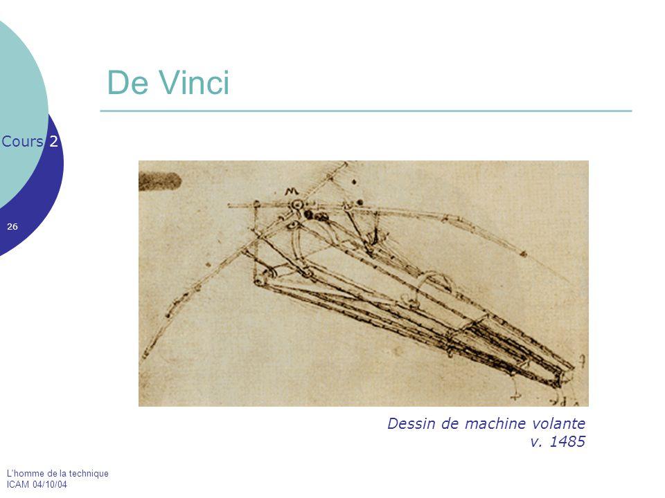 De Vinci Cours 2 Dessin de machine volante v. 1485