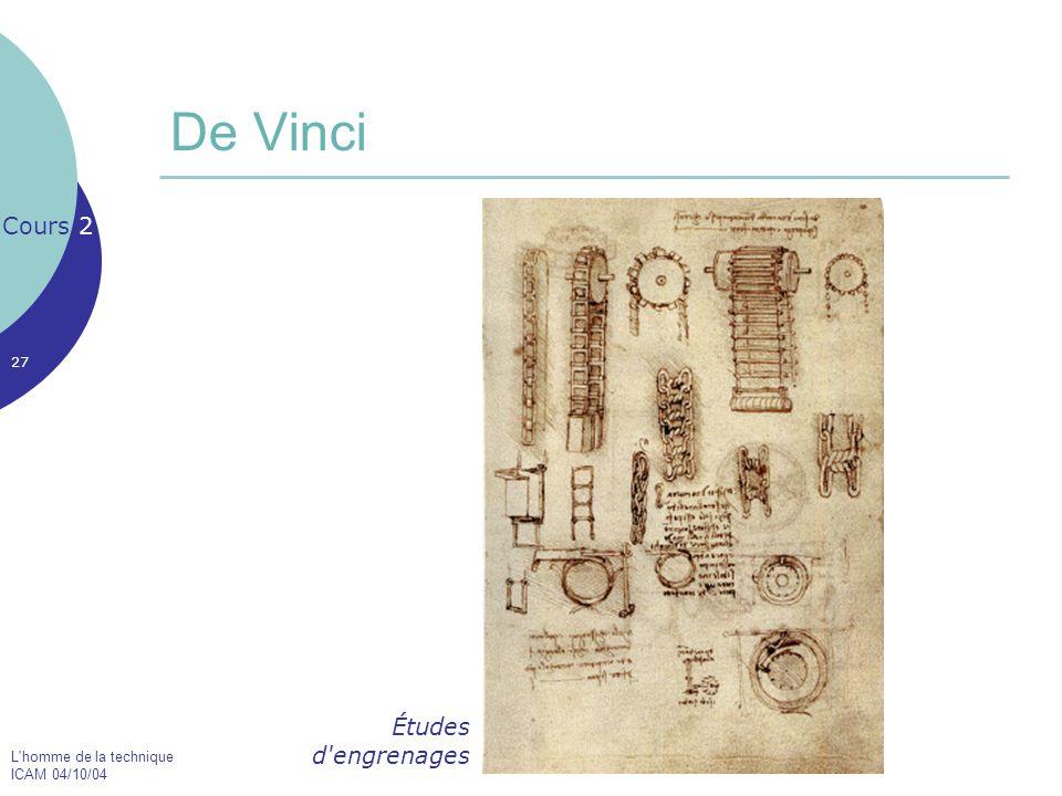 De Vinci Cours 2 Études d engrenages