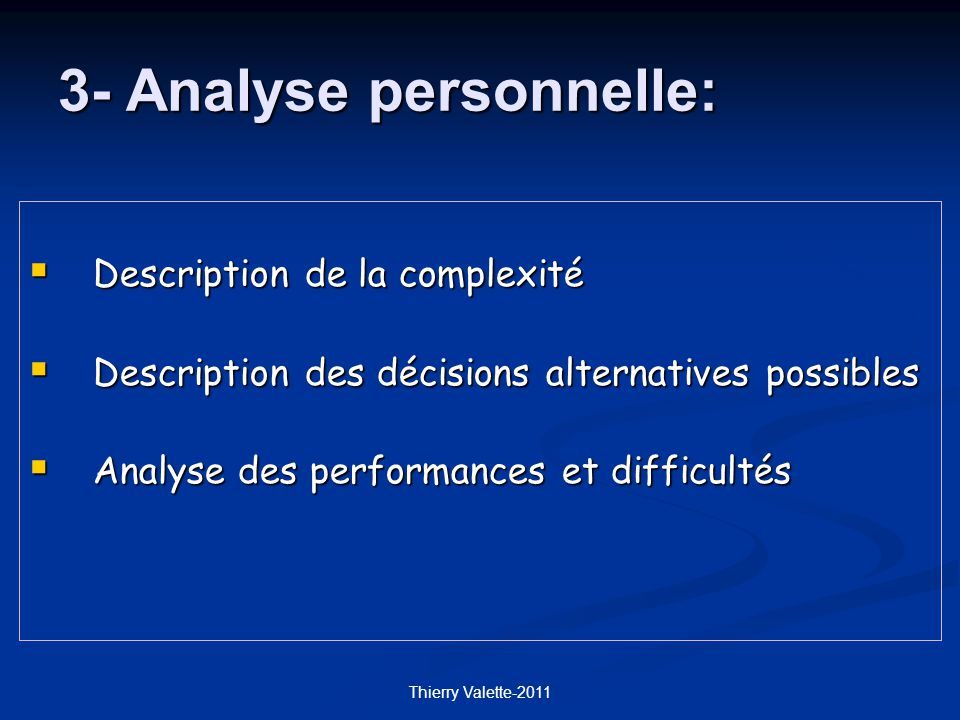 3- Analyse personnelle:
