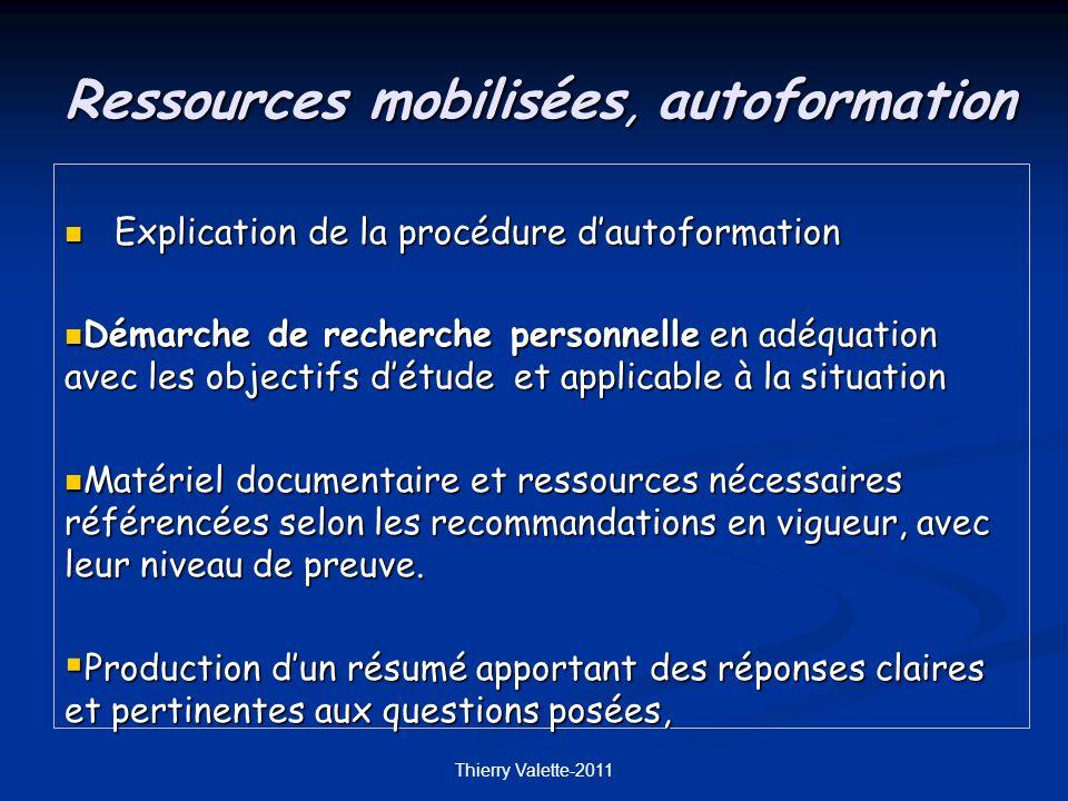 Ressources mobilisées, autoformation