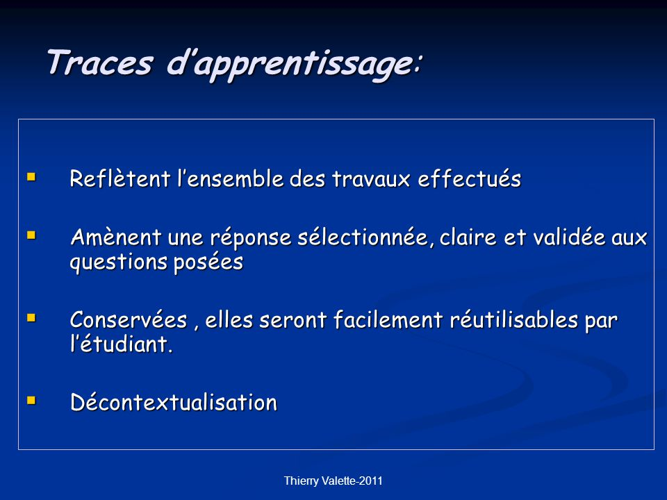 Traces d'apprentissage: