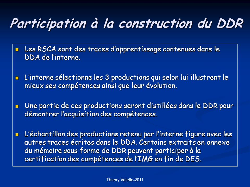 Participation à la construction du DDR