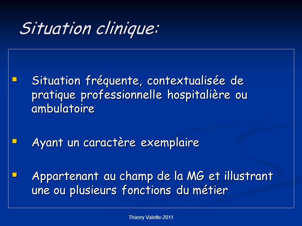Situation clinique: Situation fréquente, contextualisée de pratique professionnelle hospitalière ou ambulatoire.