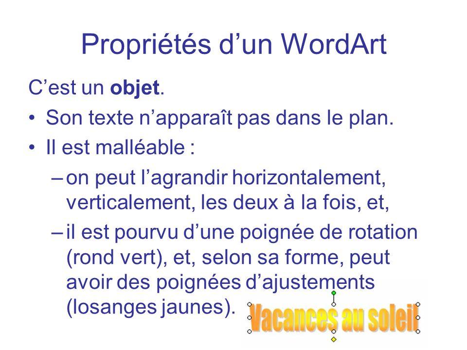 Propriétés d'un WordArt