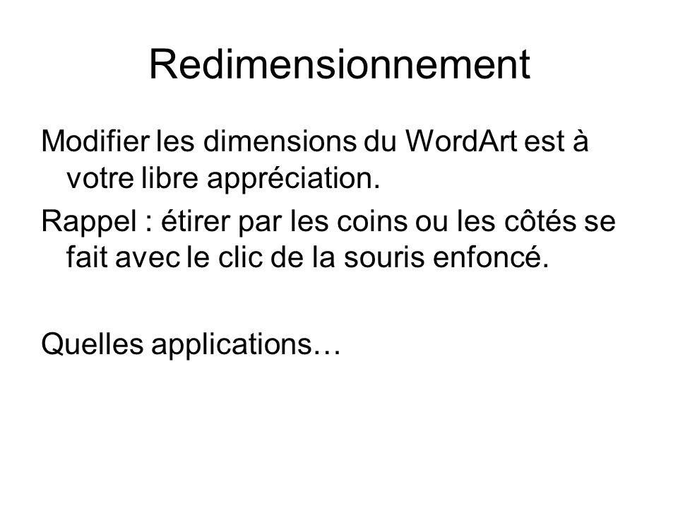 RedimensionnementModifier les dimensions du WordArt est à votre libre appréciation.