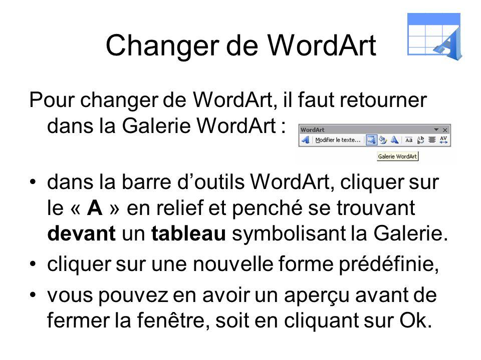 Changer de WordArt A. Pour changer de WordArt, il faut retourner dans la Galerie WordArt :