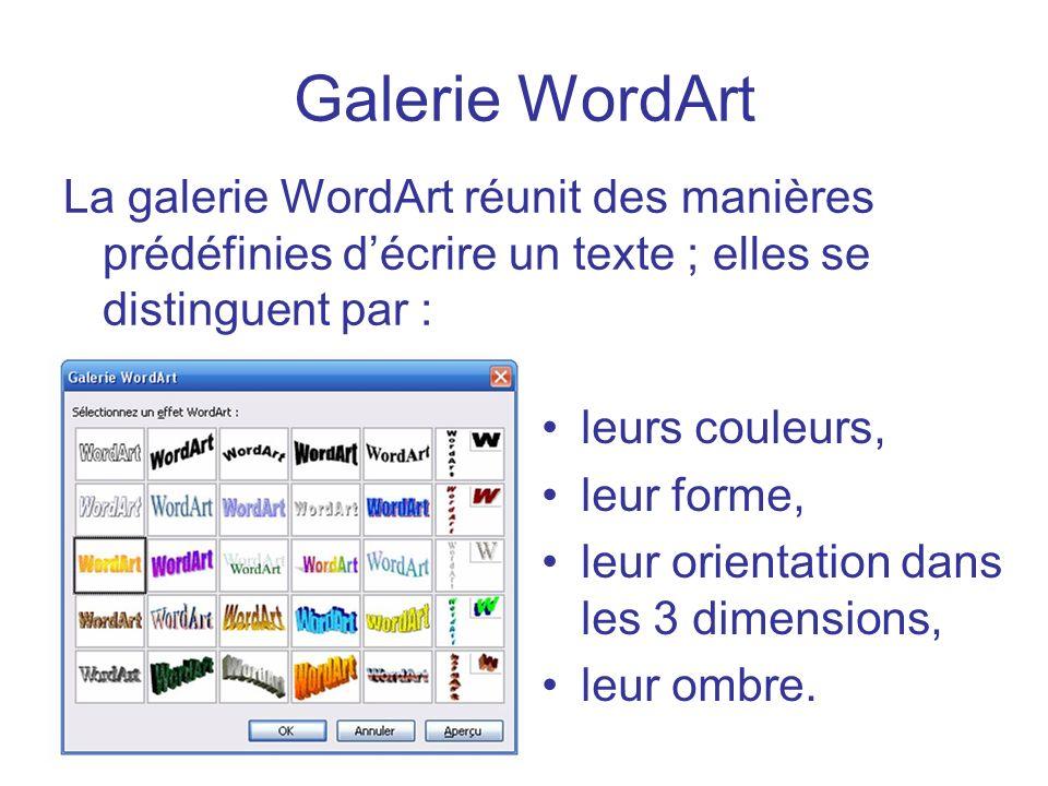 Galerie WordArtLa galerie WordArt réunit des manières prédéfinies d'écrire un texte ; elles se distinguent par :