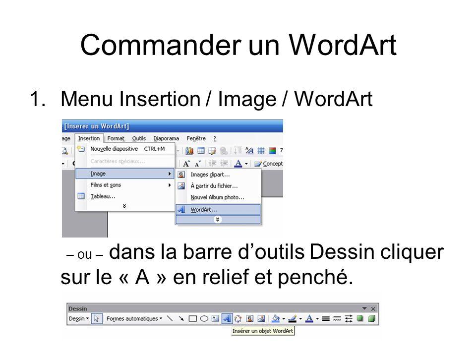Commander un WordArt Menu Insertion / Image / WordArt – ou – dans la barre d'outils Dessin cliquer sur le « A » en relief et penché.