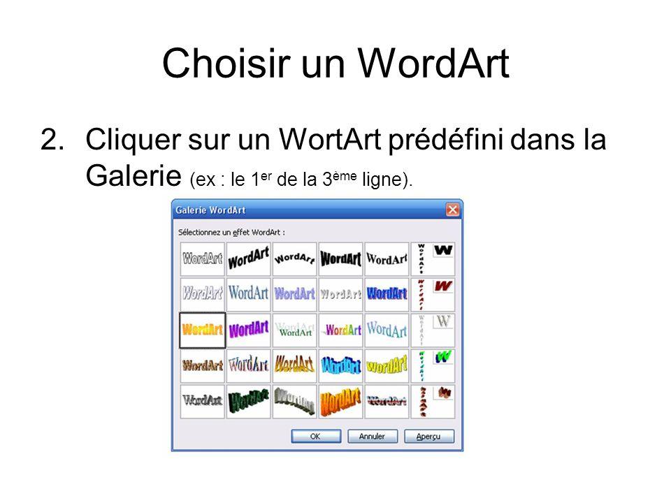 Choisir un WordArt2. Cliquer sur un WortArt prédéfini dans la Galerie (ex : le 1er de la 3ème ligne).