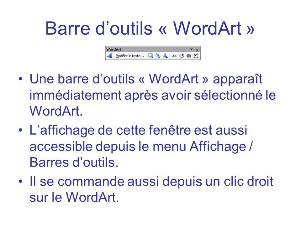 Barre d'outils « WordArt »