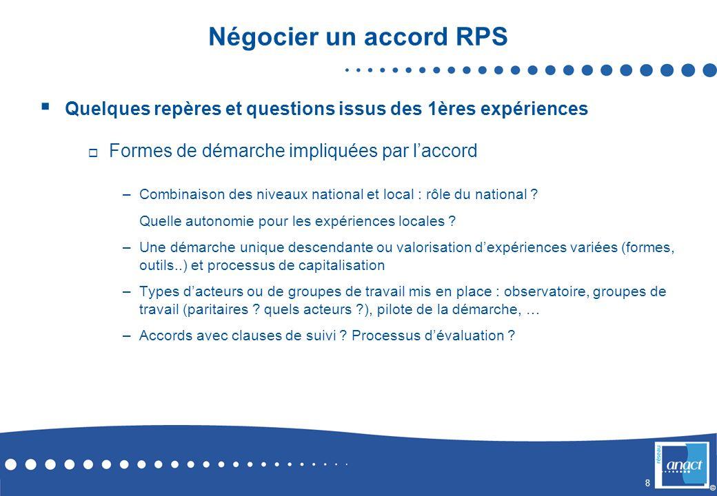 Négocier un accord RPS Quelques repères et questions issus des 1ères expériences. Formes de démarche impliquées par l'accord.
