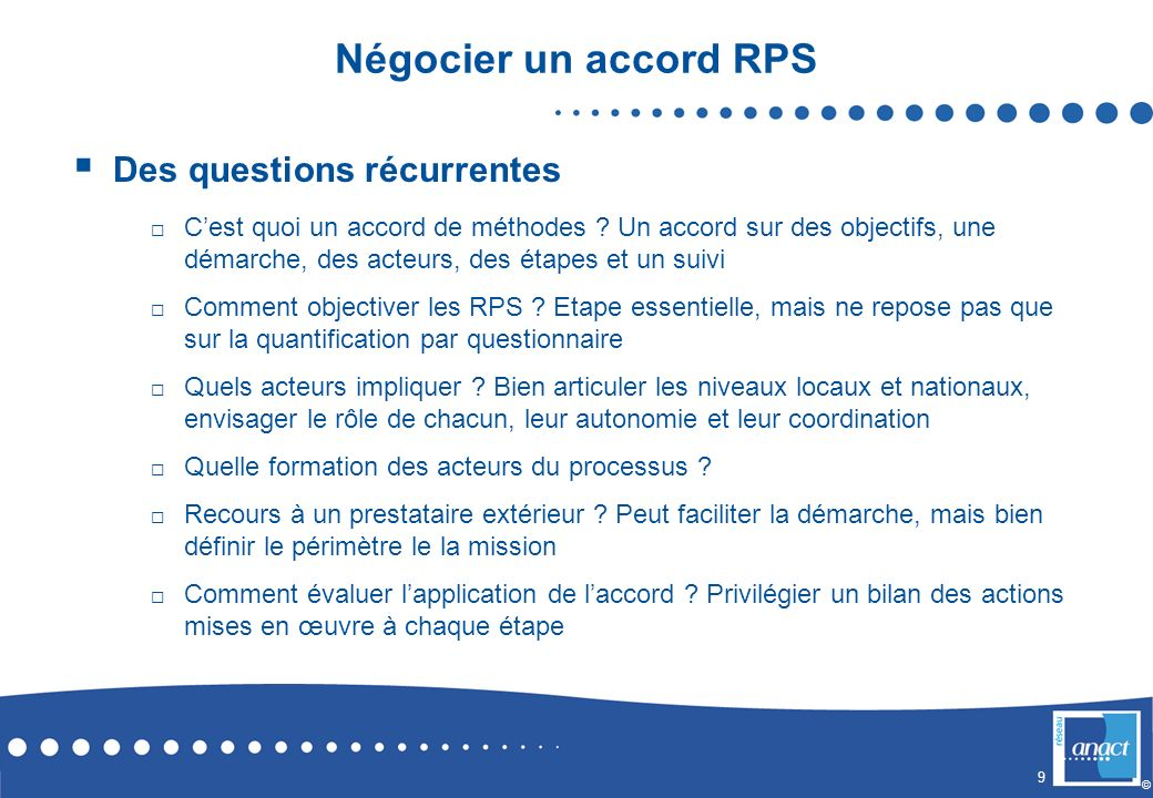Négocier un accord RPS Des questions récurrentes