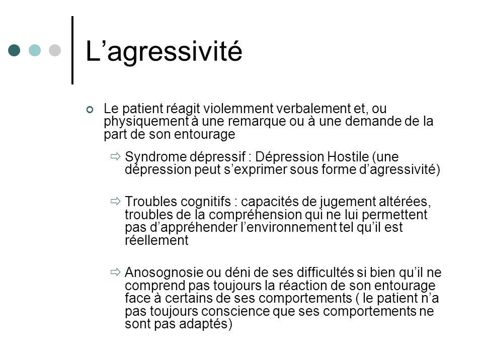 L'agressivité Le patient réagit violemment verbalement et, ou physiquement à une remarque ou à une demande de la part de son entourage.