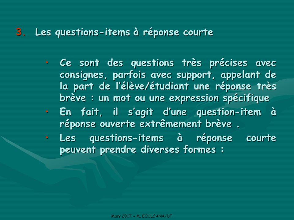 Les questions-items à réponse courte