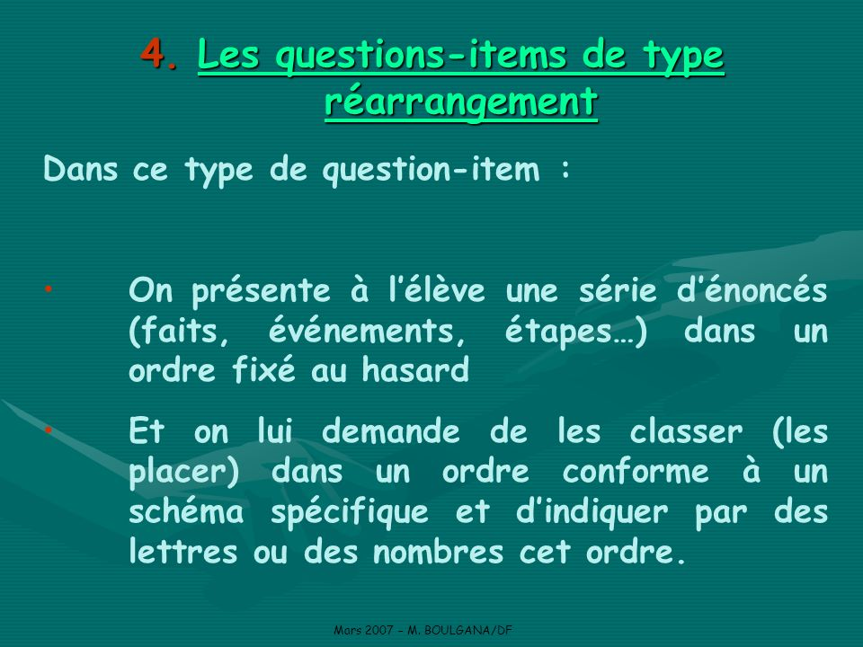 Les questions-items de type réarrangement