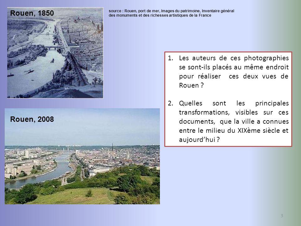 Rouen, 1850 source : Rouen, port de mer, Images du patrimoine, Inventaire général. des monuments et des richesses artistiques de la France.