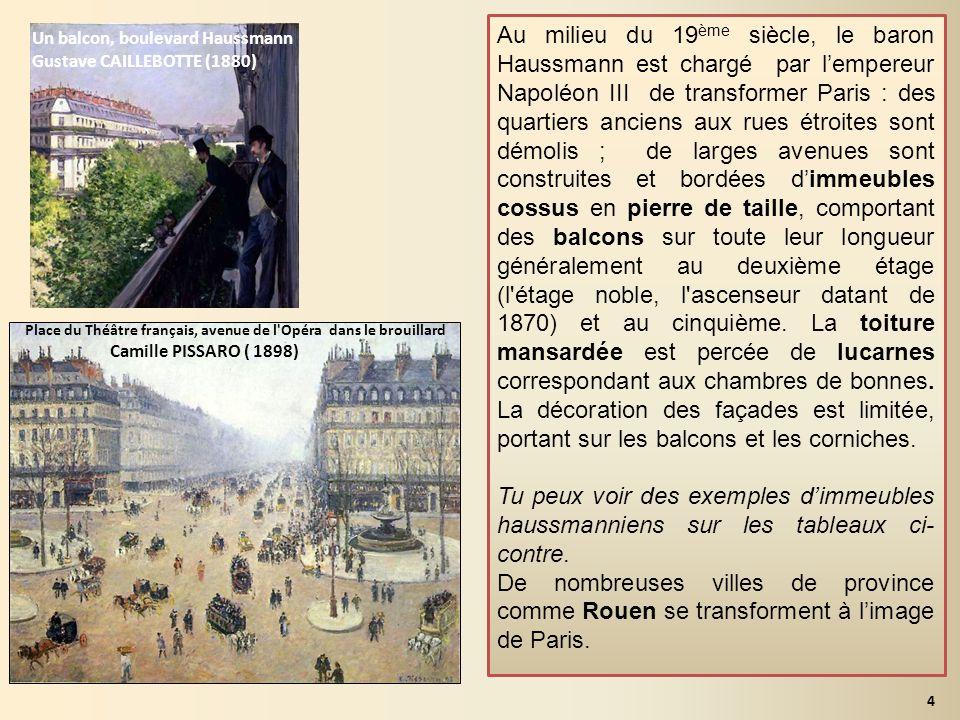 Au milieu du 19ème siècle, le baron Haussmann est chargé par l'empereur Napoléon III de transformer Paris : des quartiers anciens aux rues étroites sont démolis ; de larges avenues sont construites et bordées d'immeubles cossus en pierre de taille, comportant des balcons sur toute leur longueur généralement au deuxième étage (l étage noble, l ascenseur datant de 1870) et au cinquième. La toiture mansardée est percée de lucarnes correspondant aux chambres de bonnes. La décoration des façades est limitée, portant sur les balcons et les corniches.