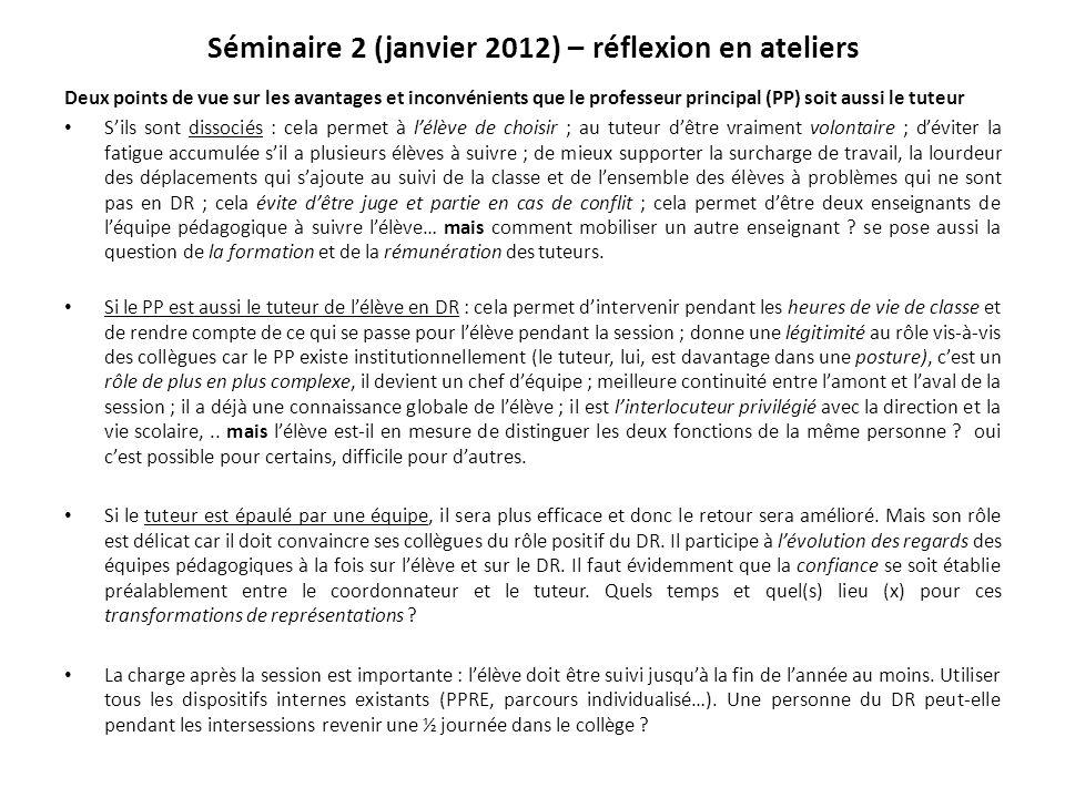 Séminaire 2 (janvier 2012) – réflexion en ateliers