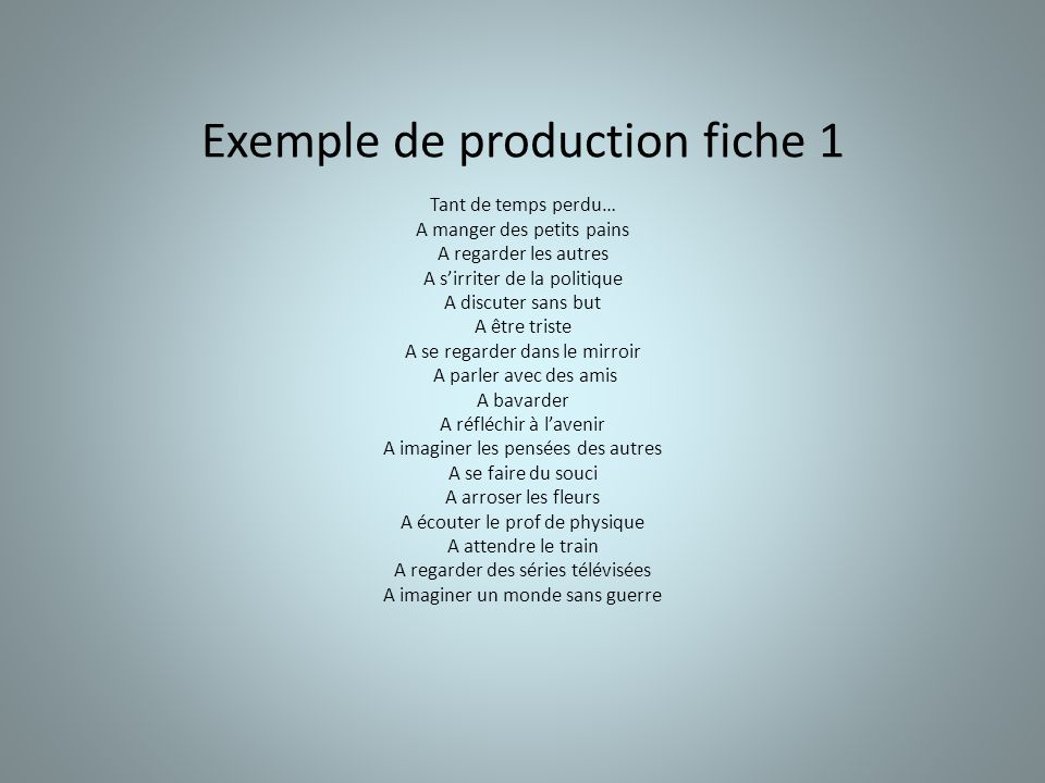 Exemple de production fiche 1