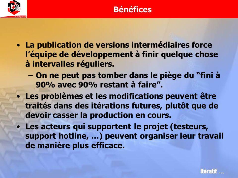 Bénéfices La publication de versions intermédiaires force l'équipe de développement à finir quelque chose à intervalles réguliers.