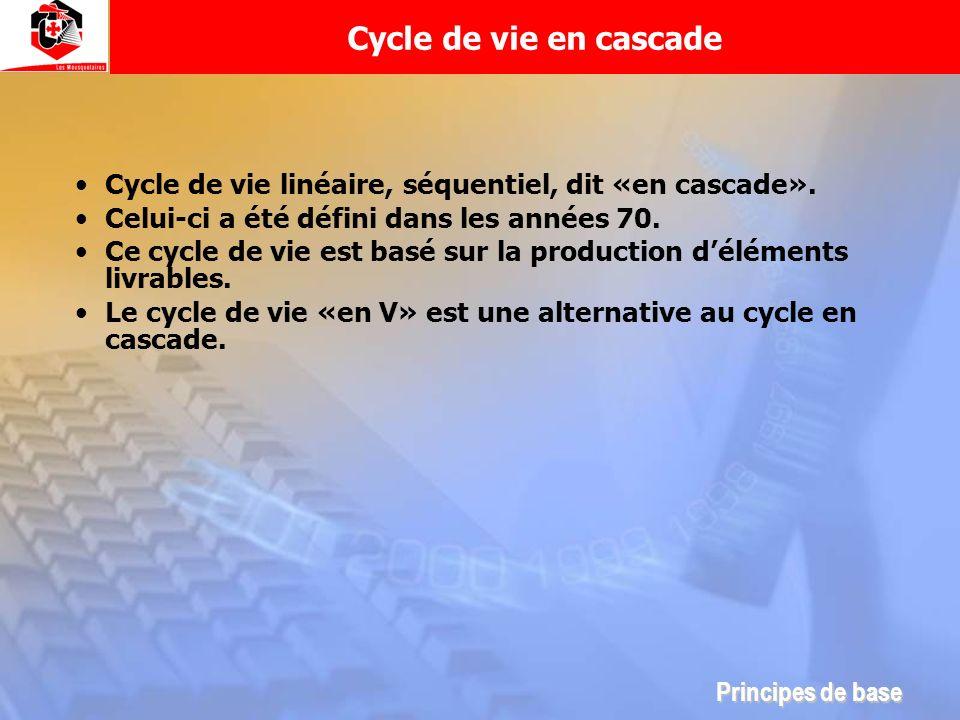 Cycle de vie en cascadeCycle de vie linéaire, séquentiel, dit «en cascade». Celui-ci a été défini dans les années 70.