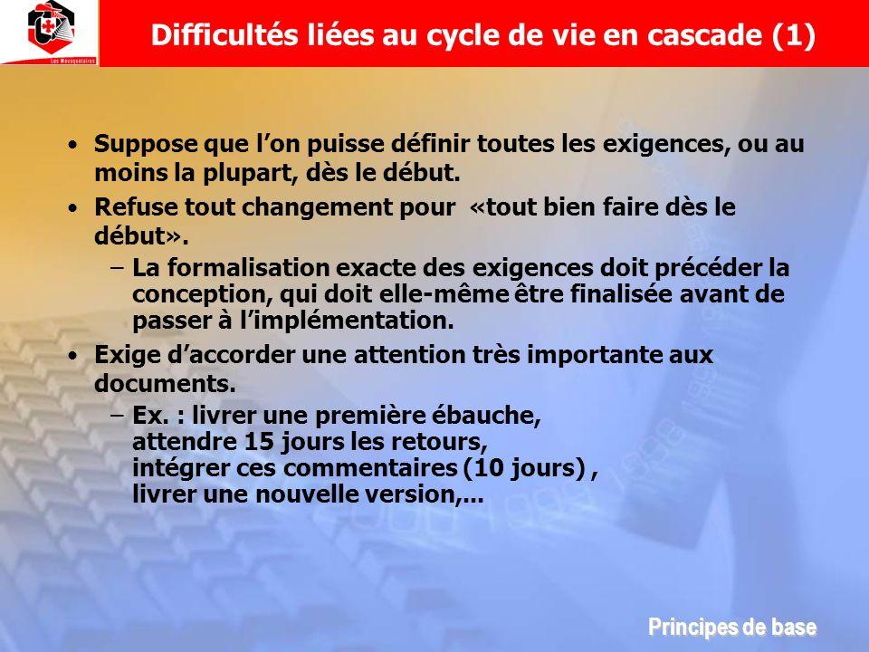 Difficultés liées au cycle de vie en cascade (1)