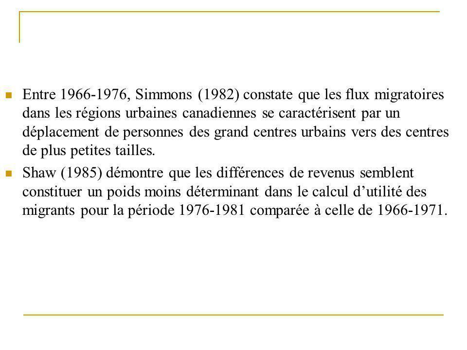 Entre 1966-1976, Simmons (1982) constate que les flux migratoires dans les régions urbaines canadiennes se caractérisent par un déplacement de personnes des grand centres urbains vers des centres de plus petites tailles.
