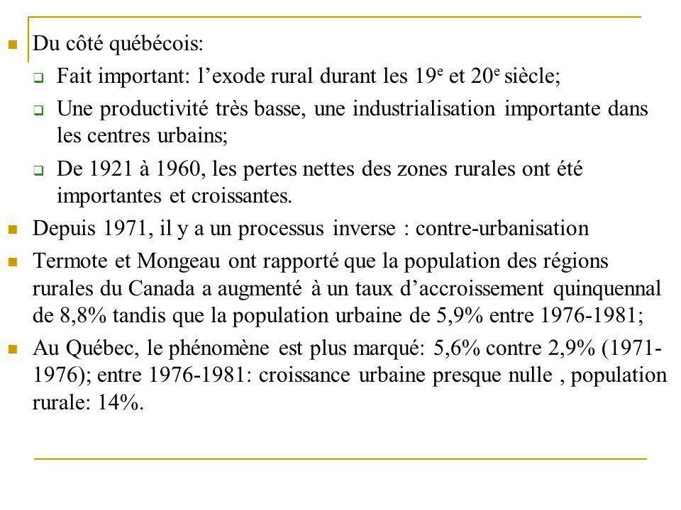 Du côté québécois: Fait important: l'exode rural durant les 19e et 20e siècle;