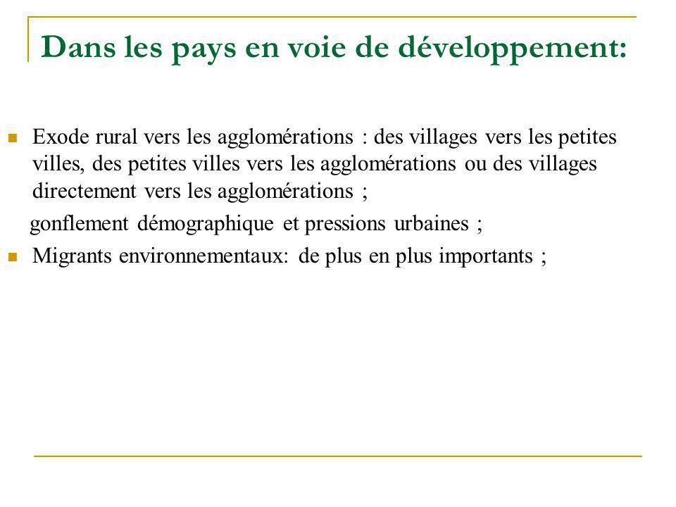 Dans les pays en voie de développement: