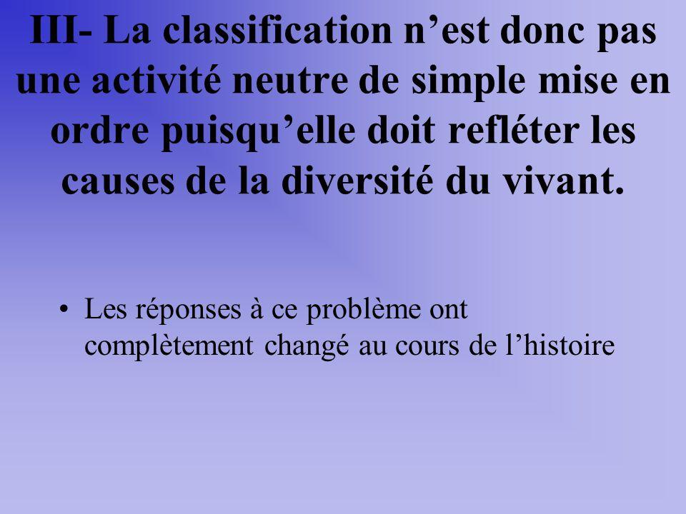 III- La classification n'est donc pas une activité neutre de simple mise en ordre puisqu'elle doit refléter les causes de la diversité du vivant.