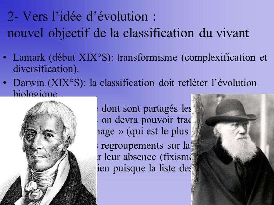 2- Vers l'idée d'évolution : nouvel objectif de la classification du vivant