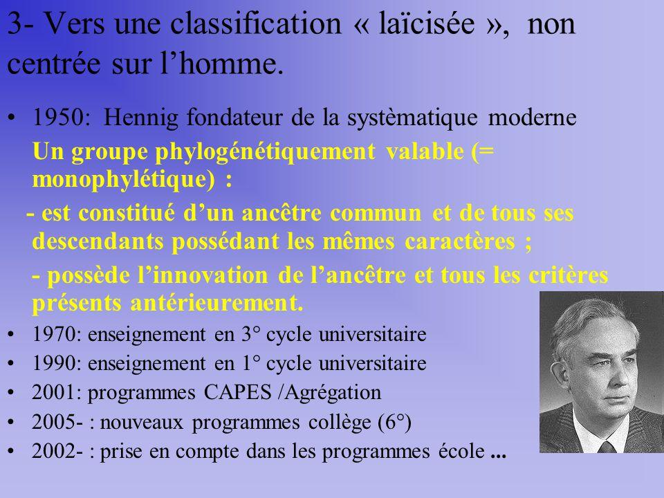 3- Vers une classification « laïcisée », non centrée sur l'homme.
