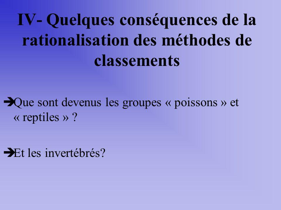 IV- Quelques conséquences de la rationalisation des méthodes de classements