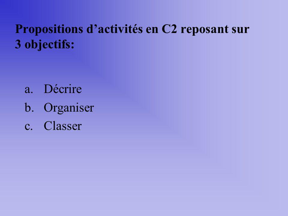 Propositions d'activités en C2 reposant sur 3 objectifs: