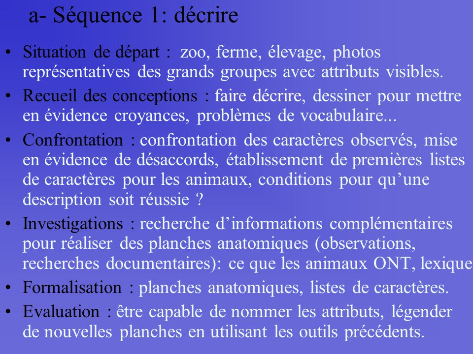 a- Séquence 1: décrire Situation de départ : zoo, ferme, élevage, photos représentatives des grands groupes avec attributs visibles.