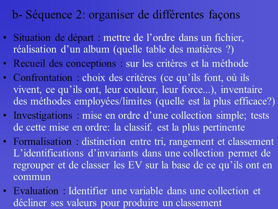 b- Séquence 2: organiser de différentes façons