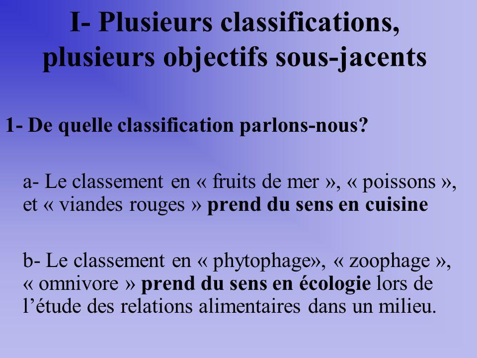 I- Plusieurs classifications, plusieurs objectifs sous-jacents