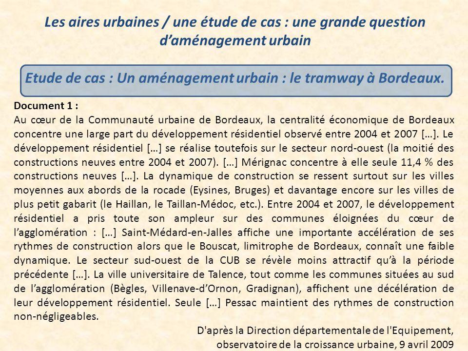 Etude de cas : Un aménagement urbain : le tramway à Bordeaux.