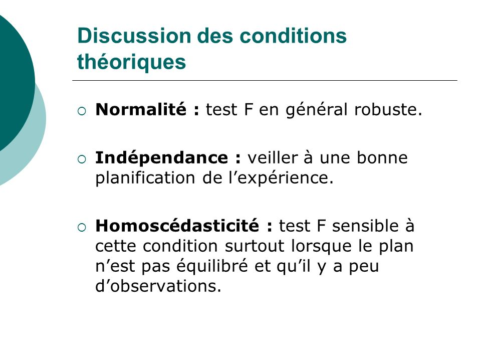 Discussion des conditions théoriques