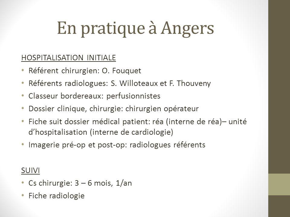 En pratique à Angers HOSPITALISATION INITIALE
