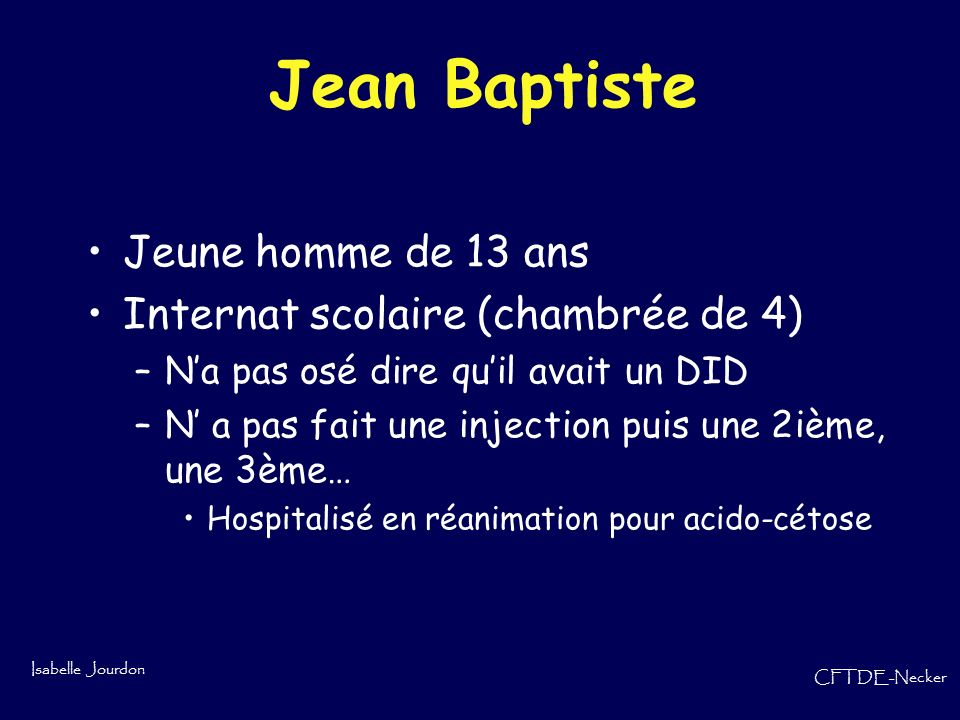 Jean Baptiste Jeune homme de 13 ans Internat scolaire (chambrée de 4)