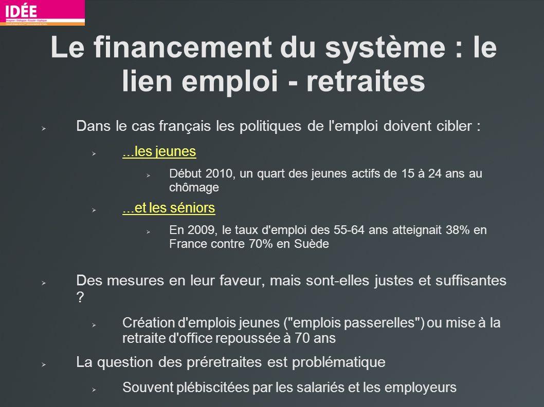 Le financement du système : le lien emploi - retraites